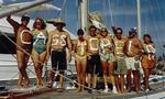 "The whole crew of the Banderas Bay Regatta with ""Cassiopeia"" in Shaving Cream on our chests."