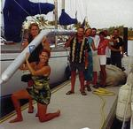 "Seconds after the Banderas Bay Regatta, the talented crew of ""Cassiopeia"" managed to shred the spinnaker and mangle the spinnaker pole.  Always with a good attitude, we marched into the awards banquet with our pole held high!"