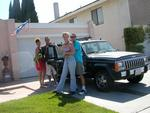 Ready to go to Vegas!  Jean, Cherie, Greg and Dustin with Cherie's 1987 Jeep Cherokee.  Did I mention we couldn't use the air conditioner?  Worse, with 117 degrees desert tempuratures, we had to run the heater!