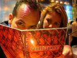 Cherie and Greg can't decide from over the 100 different choices of rum at the Rum Jungle in the Mandalay Bay.