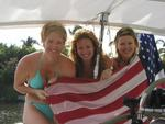 Good old fashioned, all-American girls. (We're just a little shy, that's why we pulled the flag over us.)