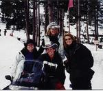 We got a lot of exercise that week....dancing, skiing...here's us on the snow-mobile!