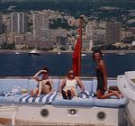 "Myra and Kristi hanging out in front of Monaco on the Super Yacht ""The King""."
