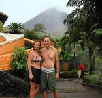 Greg and I with Arenal Volcano behind us.  The volcano erupts all day long spitting smoke and lava, a show not to be missed.