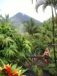 Arenal Volcano with the lush tropical gardens of Tabacon Resort.