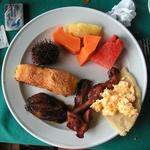 "Typical breakfast in Costa Rica.  The spikey fruit ""mamon chino"" and the fried-bananas were delicious."