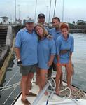 Team Scirocco taking the 41-foot Morgan Out Island through the Panama Canal: Greg, Cherie, Rennie, Anne and Nick.
