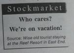 The stock market section of a local Cayman paper.