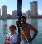 Marsha and Jim with Miami in the background.