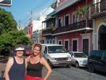Joanne and Cherie with a splash of color from the charming buildings of San Juan. *Photo by Stan.