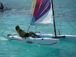 "Sailing a ""Hobie Cat"" in the Turks and Caicos Islands."
