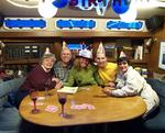 After we eat the ice-cream and the champagne runs out, we celebrate my birthday with fine wine and silly hats.  *Photo by Rick