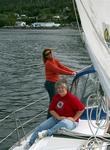 Cherie and Sue sailing with smiles.  *Photo by Dave.