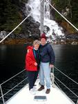 Dave and Sue on the bow.  We're anchored 20 feet from this stunning waterfall.