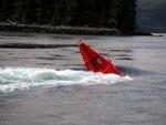 The 8 knot current almost submerges this buoy.