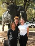 Cherie, Kristi, Renee with elephant.