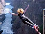 Cherie leaping off the 2nd highest bungee jump in the world at Victoria Falls Bridge.