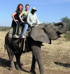 Cherie and Kristi on an Elephant Safari in Zimbabwe.