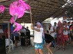 Bernard`s birthday is celebrated by bashing a piñata.