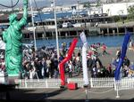 Fanfare awaits the Midway on the pier.