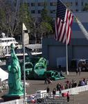 An inflatable Statue of Liberty and other bouncy things were donated by Party Pals, a sponsor of the event.