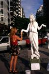 Cherie gets to know a statue in Buenos Aires.