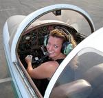 Cherie at the wheel of a Paris Jet.