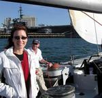 Sailing near the USS Midway.