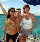 "Dolly, Erin and Cherie help ""4 Play"" (a boat chartered from BVI Yacht Charters) get 3rd place in the St. Croix Regatta."