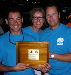 Manolo, Beth and Phil hold up the 1st Prize plaque.