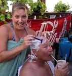 I advise people to have at least one Pina Colada before they shave their head.