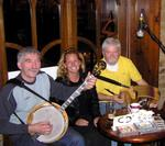 Surrounded by traditional Irish musicians.