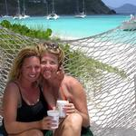 Cherie and Jean (best-friends since 4th Grade) on a hammock in paradise.