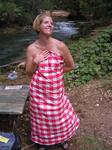 Jean thought of everything for our campsite.  Even a table cloth that doubled as an evening gown.