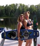 Cherie and Jean ready to wakeboard and ski.