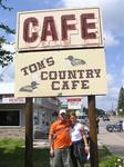 Allison and Sam at Tom's County Cafe, home of the $1.49 breakfast special.