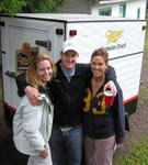 Cherie, Sam and Allison in front of the portable beer truck.