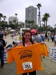 Cherie completes the Long Beach Triathlon.