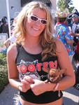 Hooters girl with 2.2 pound Chihuahua.