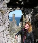 Cherie stops to admire a castle on the way to the Giant's Causeway in Antrim County, Northern Ireland.