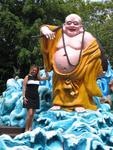 Cherie with a big Buddha.