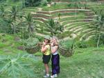 Cherie and Margaret in the terraced rice fields near Ubud, Bali.