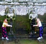 "Cherie and Margaret in Ubud's version of the ""Fountain of Youth."""