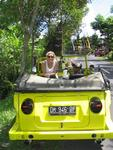 Cruising around in our yellow VW Thing.