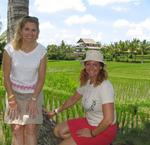 Cherie and Margaret wander through the rice fields.