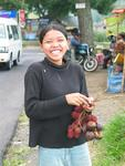 The happy funky-fruit seller. *Photo by Margaret.