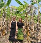 Cherie and Jean in the banana trees. *Photo by Aunt Lynda.