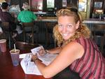Cherie fills out her tax forms in a Key West bar.  Classic.