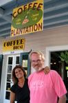 Theo and Diane at Key West's best coffee shop--the Coffee Plantation.