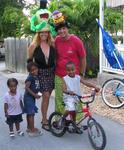 Cherie and Greg getting ready for the parade with some kids in Key West.